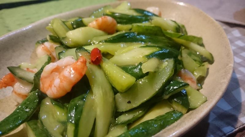 胡瓜と海老の塩炒め